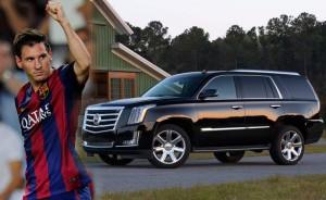 Leo  Messi estrena su  nuevo carro para 2015, un Cadillac Escalade.