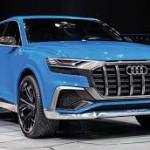 """Audi Q8 Concept: Es una imponente SUV r (obviamente) que llega con interesante """" diseño de coupé"""", según sus creadores. En realidad, tiene más del hatchback que del cupé o de la carrocería fastback. De todos modos, esta propuesta aporta algo de frescura al diseño Audi, especialmente tras la llegada del Audi Q7. Su llegada al mercado será en 2018 donde promete ser uno de los mejores autos de su categoría gracias a su potencia y autonomía proveniente de su sistema híbrido enchufable."""