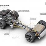 Audi Q8 Concept: Está equipado con un sistema híbrido enchufable ya conocido. Recupera el sistema de propulsión del Porsche Cayenne S E-hybrid plug-in, potenciando aquí el motor eléctrico y el par motor en general. El motor gasolina es el mismo V6 3.0 litros turbo de 330 CV que en el Cayenne, pero su par máximo pasa de 410 Nm en el Porsche a 500 Nm en el Audi Q8. Del mismo modo, el motor eléctrico de 70 kW del Cayenne, eroga 100 kW en el Audi Q8 para 330 Nm (310 Nm en el Cayenne). Al final, el Audi Q8 llega con una potencia total de 449 CV y 700 Nm de par motor.
