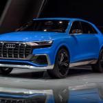 Audi Q8 Concept: La suspensión, con muelles neumáticos en las cuatro ruedas, es adaptativa en función del estilo de conducción seleccionado, pudiendo reducir la altura libre del coche hasta 90 mm en modo Sport.