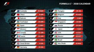 Calendario de la Fórmula 1 2018